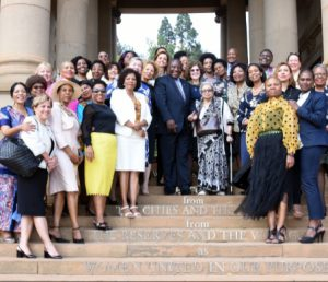 President of SADC WIB Ms Shiphra Chisha with President Ramaphosa at a dialogue session with IWFSA Members.