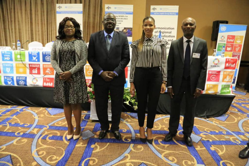From left to right;  Malawi Country Director, SADC WIB Malawi Chapter Head Ms Clara Mkandawire, Director of UNECA Southern Region Prof. Said Ademobi, SADC WIB Botswana Chapter Head Ms Mmantlha Sankoloba, Senior UNECA official at the closing ceremony for ICSOE held in Eswatini